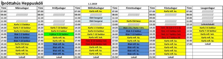 Nýjar stundatöflur 01.01.2019